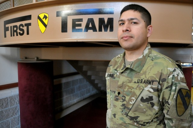 Spc. Oscar Bonilla, a health care specialist with Headquarters and Headquarters Battery, 1st Cavalry Division Artillery, saved a fellow Soldier from committing suicide. (U.S. Army photo by Spc. Erik Warren, 3rd Cavalry Regiment Public Affairs/Released)