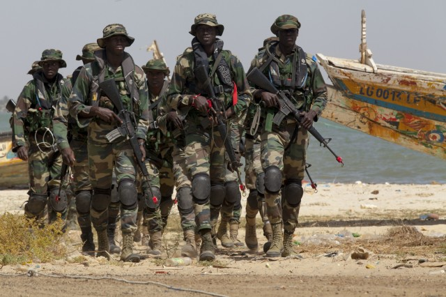 Senegalese Navy Special Operations Forces prepare for a beach landing exercise in Saint Louis, Senegal, Feb. 11, 2016. The beach landings were a part of the multinational exercise Flintlock 2016. More than 1,700 Special Operation Forces personnel from Africa, Europe and North America participated in Flintlock 2016.