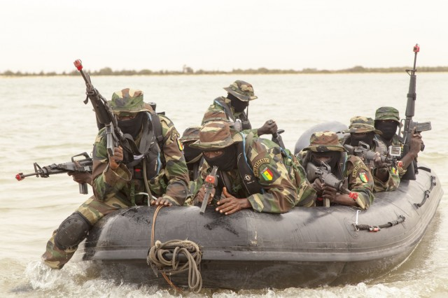 Senegalese special operations forces conduct a beach landing exercise during Flintlock 2016 in Saint Louis, Senegal, Feb. 12, 2016. Riverine type operations are important in Military Zone 2 in Saint Louis because the region has 700 kilometers of coastline. The riverine operation was a culmination exercise after a weeklong training with Netherlands and U.S. Special Operation Forces. Flintlock 2016 is designed to enhance interoperatibility among all participating nations.