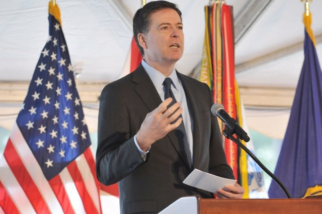 FBI Director James B. Comey speaks to attendees of the ribbon cutting for the Terrorist Explosive Device Analytical Center Laboratory Complex about the importance of partnerships in defending the United States.