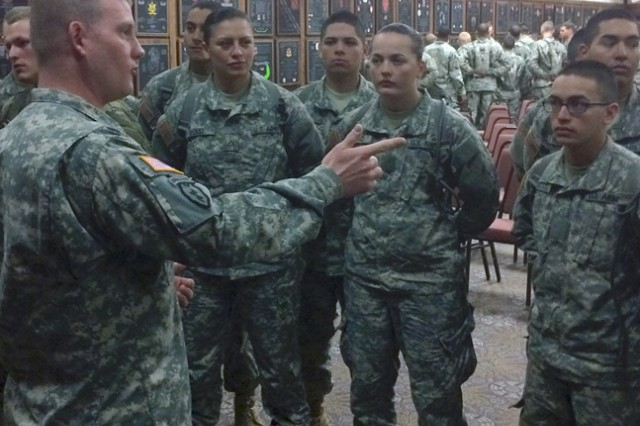 Sgt. Douglas Schultze, Engineer ALC student assigned to Joint Base Lewis-McChord, Washington, speaks to Soldiers who just completed One Station Unit Training during a small-group-leader engagement Feb. 2.
