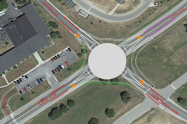 An illustration of the traffic flow when the new roundabout is complete.