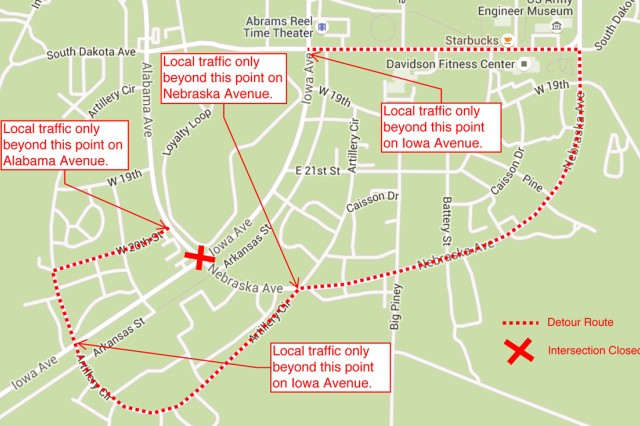 Illustration of road closures and detour routes.