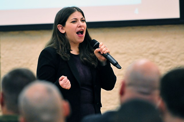 Lauren Aggen, Equal Employment Opportunity specialist, ASC, enthusiastically explains the Diversity and Inclusion Strategic Campaign during the town hall Feb. 17. (Photo by Jon Micheal Connor, ASC Public Affairs)