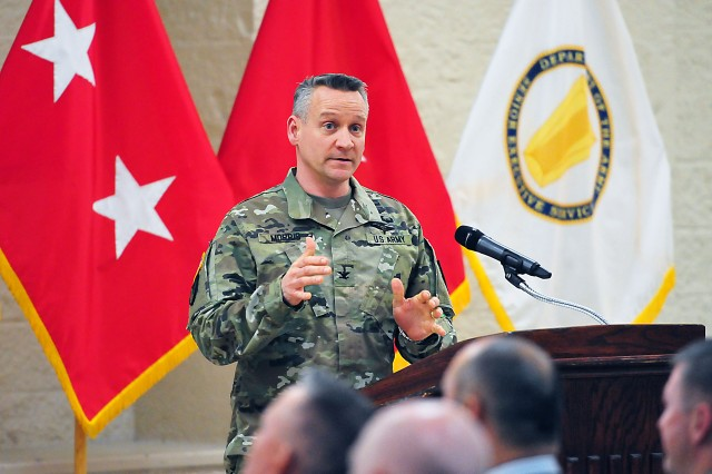 Col. Grant Morris, deputy chief of staff for Operations, ASC, explains audit readiness during the town hall Feb. 17. (Photo by Jon Micheal Connor, ASC Public Affairs)