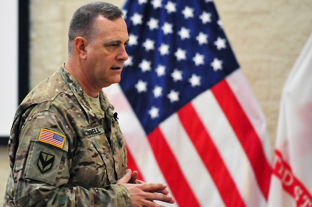 Maj. Gen. Kevin O'Connell, commanding general, ASC, addresses attendees during the town hall Feb. 17. (Photo by Jon Micheal Connor, ASC Public Affairs)