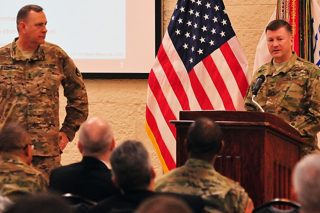 Col. Lance Koenig, chief of staff, ASC, addresses results of the command climate survey Feb. 17. (Photo by Jon Micheal Connor, ASC Public Affairs)