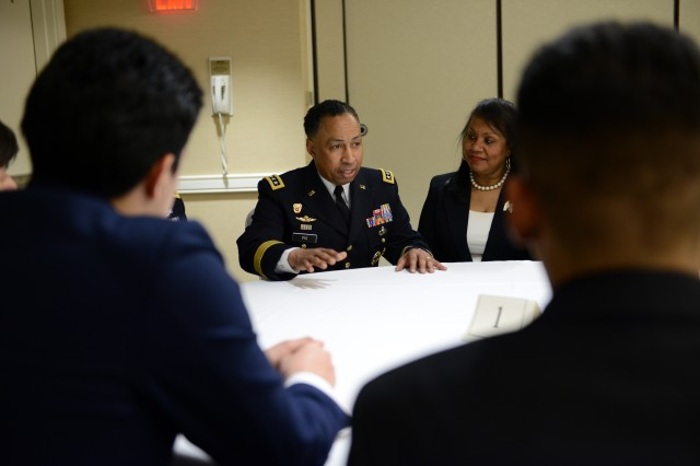 Gen. Dennis L. Via, commander of U.S. Army Materiel Command, was among the 140 senior-level leaders from across the U.S. armed forces who took part in a Feb. 19, 2016, series of STEM-themed mentoring sessions in Philadelphia for high school-aged youth. The mentoring sessions involved more than 300 youth from Philadelphia, Washington, D.C., Maryland and Virginia, and were part of the larger Black Engineer of the Year  STEM conference.