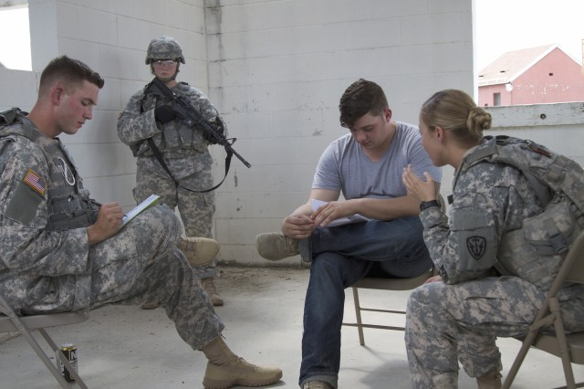 A team of Human Intelligence Collectors from the 504th Military Intelligence Brigade conduct a training scenario recently at a Fort Hood urban training area to simulate meeting with an intelligence source. Unit training scenarios comprise part of the Foundry training program.