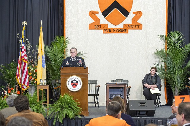 "U.S. Army Chief of Staff, Gen. Mark A. Milley, attends Princeton University Alumni Day where he was awarded the Woodrow Wilson Award, an honor given annually to an alumnus or alumna whose achievements exemplify Woodrow Wilson's phrase, ""Princeton in the nation's service"", Princeton, N.J., Feb. 20, 2016. Milley explained the distinction and uniqueness for members of the U.S. Military who swear an oath, not to a supreme leader or a piece of land like so many others around the world, but to an idea; an idea that is an integral part of the Constitution of the United States - that we are all created equal. (U.S. Army photograph by Staff Sgt. Chuck Burden / released)"