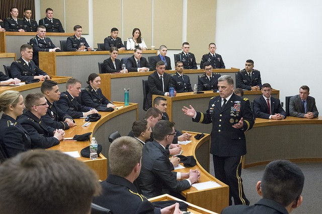U.S. Army Chief of Staff, Gen. Mark A. Milley, visits with cadets in the Reserve Officer Training Corps (ROTC) from Princeton University, The College of New Jersey, Rider University, and Rowan University during Princeton University Alumni Day, Princeton, N.J., Feb. 20, 2016. Milley explained the distinction and uniqueness for members of the U.S. Military who swear an oath, not to a supreme leader or a piece of land like so many others around the world, but to an idea; an idea that is an integral part of the Constitution of the United States - that we are all created equal. (U.S. Army photograph by Staff Sgt. Chuck Burden /released)