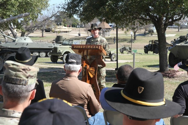 Maj. Gen. J.T. Thomson, commanding general, 1st Cavalry Division addresses a crowd of Soldiers and veterans at the 1st Cav. Div. Museum at Fort Hood, Texas, Feb. 18. (U.S. Army photo by Sgt. Garett Hernandez 1st Cavalry Division, public affairs (Released))