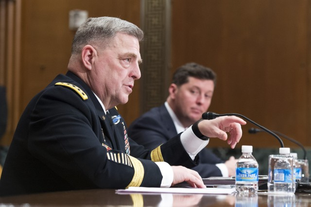 Chief of Staff of the Army Gen. Mark A. Milley, left, and acting Secretary of the Army Patrick J. Murphy, both testified on Capitol Hill at a Senate Appropriations Committee budget hearing, Washington, D.C., Feb. 24, 2016.