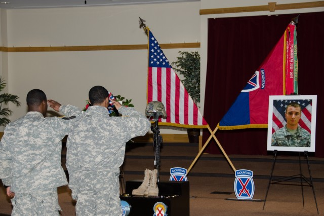 Soldiers with the 10th Mountain Division (LI) honor Pvt. Christopher Castaneda, a cavalry scout with C Troop, 3rd Squadron, 71st Cavalry Regiment, 1st Brigade Combat Team, during a remembrance ceremony Thursday at Fort Drum. Castaneda died while deployed to Iraq with 1st BCT in support of Operation Inherent Resolve.