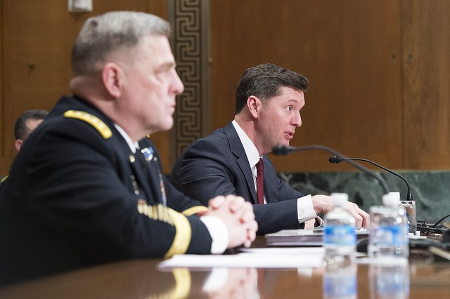 The Honorable Patrick Murphy, Acting Secretary of the Army, right, testifies on Capitol Hill at a Senate Appropriations Committee (SAC-D) budget hearing as U.S. Army Chief of Staff, Gen. Mark A. Milley listens, Washington, D.C., Feb. 24, 2016. (U.S. Army photograph by Staff Sgt. Chuck Burden /released)