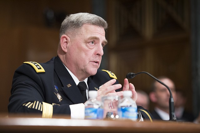 U.S. Army Chief of Staff, Gen. Mark A. Milley, testifies on Capitol Hill at a Senate Appropriations Committee (SAC-D) budget hearing, Washington, D.C., Feb. 24, 2016. Milley stated that the Army will prioritize funding to sustain current operations and mitigate the risks of deploying unready forces. (U.S. Army photograph by Staff Sgt. Chuck Burden /released)
