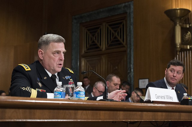 U.S. Army Chief of Staff, Gen. Mark A. Milley, prepares to testify on Capitol Hill at a Senate Appropriations Committee (SAC-D) budget hearing, Washington, D.C., Feb. 24, 2016. Milley stated that the Army will continue to fund readiness for contingencies in a changing strategic environment. (U.S. Army photograph by Staff Sgt. Chuck Burden /released)