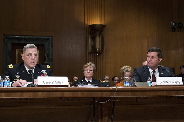 "U.S. Army Chief of Staff, Gen. Mark A. Milley, testifies on Capitol Hill at a Senate Appropriations Committee (SAC-D) budget hearing, Washington, D.C., Feb. 24, 2016. Milley stated, ""With your support, the Army will fund readiness at sufficient levels to meet current demands, build readiness for contingencies in a changing strategic environment, and invest selectively in the readiness of our future force."" (U.S. Army photograph by Staff Sgt. Chuck Burden /released)"
