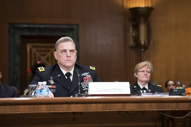 U.S. Army Chief of Staff, Gen. Mark A. Milley, prepares to testify on Capitol Hill at a Senate Appropriations Committee (SAC-D) budget hearing, Washington, D.C., Feb. 24, 2016. Milley would state that the Army plans to fund readiness for contingencies in a changing strategic environment. (U.S. Army photograph by Staff Sgt. Chuck Burden /released)