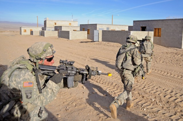 Soldiers train at the National Training Center at Fort Irwin, Calif., which is fully funded in the FY17 budget. Home-station training is not.