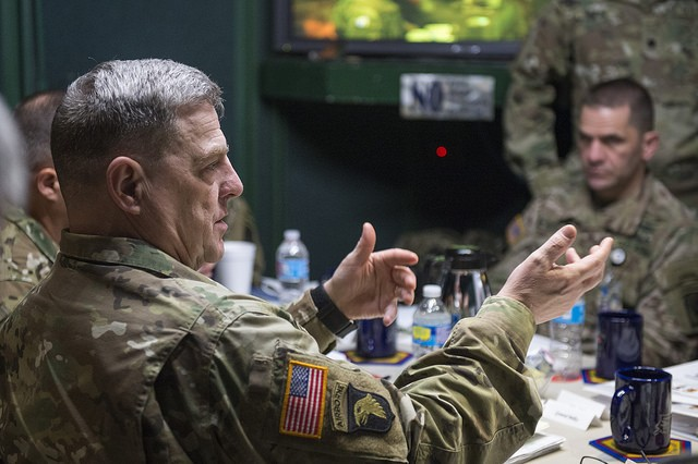 U.S. Army Chief of Staff, Gen. Mark A. Milley, addresses leaders of the Joint Readiness Training Center (JRTC), Fort Polk, La., Feb. 26, 2016. Milley challenged the leaders of JRTC to diligently prepare forces to respond in a complex global environment. (U.S. Army photograph by Staff Sgt. Chuck Burden / released)