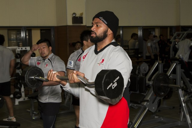 Through a request made by the Yomitan Mayor's office and community outreach efforts by U.S. Army Garrison -- Okinawa, the professional athletes found themselves lifting alongside U.S. Army personnel in the 30,000-square-foot gym.