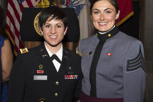 U.S. Military Academy at West Point graduate, Capt. Kristen Griest, one of the U.S. Army's first female Rangers and the event guest speaker, with the 2016 Henry O. Flipper Award Recipient, USMA at West Point Class of 2016 Cadet Bridget Ryan, pose for a photo after the annual Flipper Dinner, Feb. 18. (U.S. Army photo by Kathy Eastwood, USMA West Point, Public Affairs/released.)