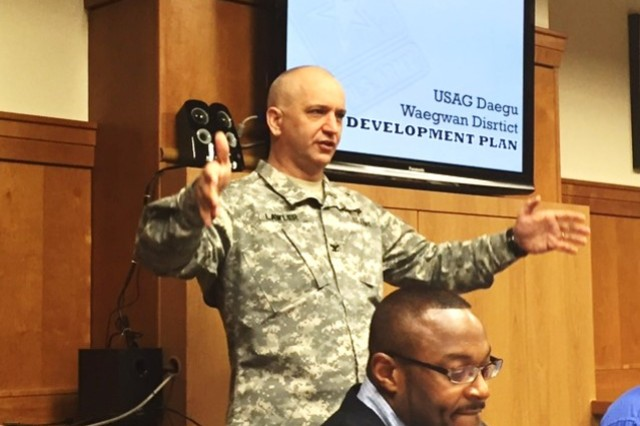 Col. Kelly Lawler, 19th Expeditionary Sustainment Command deputy commander, thanks guests for their participation in the U.S. Army Garrison-Daegu Waegwan District Area Development Plan. (Photo by Capt. Javon L. Starnes, Logistics Readiness Center-Daegu, 403d AFSB)