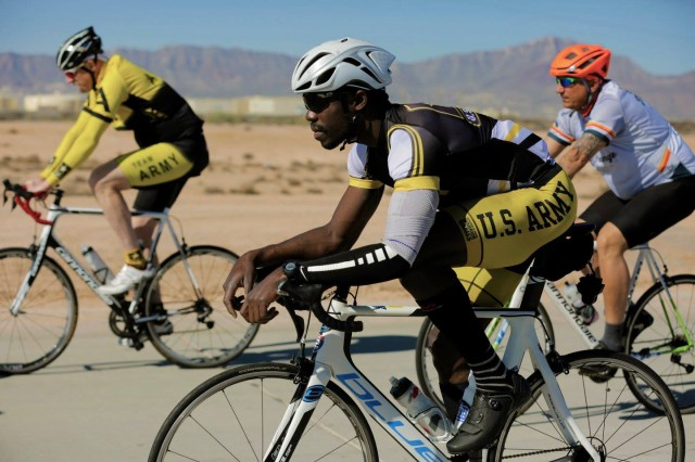 U.S. Army athletes competing in the 2016 Warrior Trials train for the cycling competition at Fort Bliss, Texas, Feb. 28, 2016.