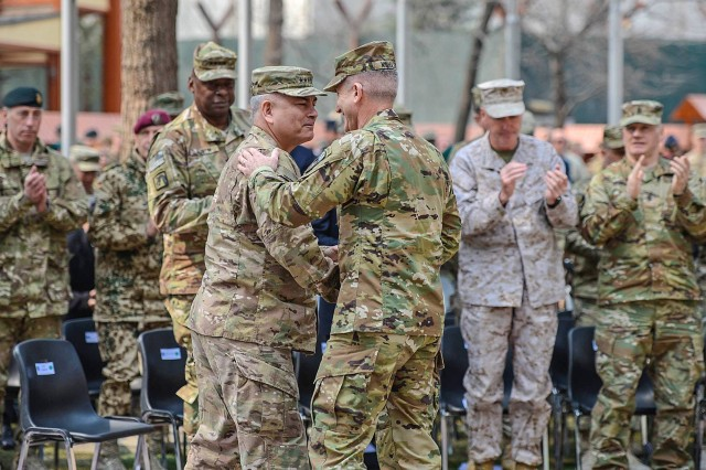 U.S. Army Gen. John F. Campbell relinquished command of both Resolute Support Mission and U.S. Forces Afghanistan to U.S. Army Gen. John W. Nicholson Jr. in a ceremony at NATO's Resolute Support Headquarters in Kabul, Afghanistan, March 2, 2016.