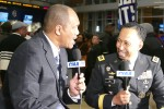 Gen. Dennis L. Via, commander, Army Materiel Command, interviews with Aspire TV network's Stan Lewter at the 2016 Central Intercollegiate Athletic Association tournament in Charlotte, N.C. Feb. 25. Via highlighted the 100th anniversary of the Army ROTC program and Army's participation at CIAA.