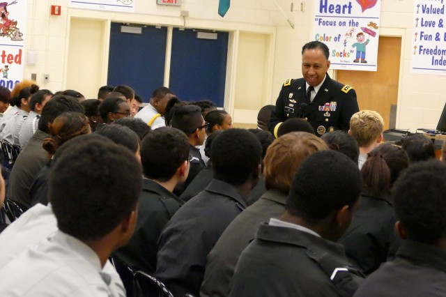 Gen. Dennis L. Via, commander of the Army Materiel Command, shares his personal keys to success to more than 150 Army JROTC cadets from Charlotte-Mecklenburg schools at the Military Global Leadership Academy in Charlotte, N.C. Feb. 26, 2016.