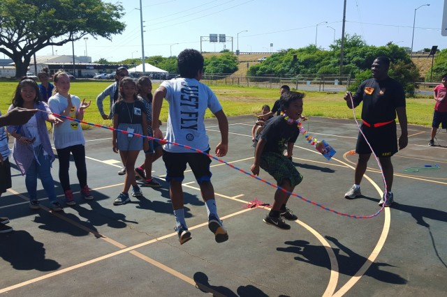 U.S. Army Spc. Darrius Hodge, a human resources specialist with 94th Army Air and Missile Defense Command, U.S. Army Pacific, helps elementary school children jump rope, Feb. 26, 2016, during a Jump Rope for Heart event at the Pearl Harbor Elementary School. The event is a national education and fundraising event sponsored by the American Heart Association and the Society of Health and Physical Educators (SHAPE) where students learn how to develop heart-healthy habits while being physically active. (U.S. Army photo by Sgt. Geysi Johnson, 94th Army Air and Missile Defense Command)