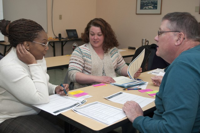 Civilian Employees participate in an interactive group activity during a character strength professional development course held at the Workforce Development Center on March 3.