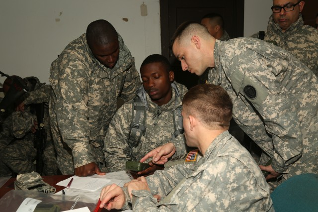 U.S. Soldiers conduct refresher training on the Defense Advanced GPS Receiver (DAGR) prior to the Land Navigation event during the Best Warrior Competition (BWC) at Camp Bullis, Texas, March 10, 2016. The BWC is an annual competition to identify the strongest and most well-rounded Soldiers through the accomplishment of physical and mental challenges, as well as basic Soldier skills. (U.S. Army photo by Spc. Darnell Torres).