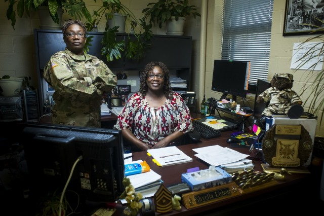 U.S. Army Reserve Sgt. Maj. Shyella Lisbon, personnel sergeant major is also Ms. Shyella Lisbon, human resources officer, with the 200th Military Police Command. Within the 200th MP Cmd., several women serve in dual roles as Soldiers and civilians giving them twice the opportunity to make the Army stronger. (U.S. Army photo illustration by Staff Sgt. Shejal Pulivarti)