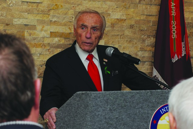 "Honorary chairman of the IFHF, Arthur Fisher speaks about funding TBI research and treatment centers in partnership with the NICoE, calling it his mission to service members at the ribbon-cutting ceremony for the newest Intrepid Spirit Center at Fort Hood, Texas, March 9.  ""This is our duty,"" he said. ""You do your duty, we have to do our duty.  We are not alone in this -- you are not alone in this.""  (U.S. Army photo by Nick Conner, Fort Hood Public Affairs)"