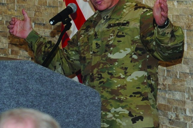 Brig. Gen. Rodney Fogg, III Corps deputy commanding general, delivers opening remarks during the Intrepid Spirit Center grand opening at Fort Hood, Texas, March 9. The Fort Hood center is the fourth built to date, with five more slated to open nationwide. (U.S. Army photo by Nick Conner, Fort Hood Public Affairs)