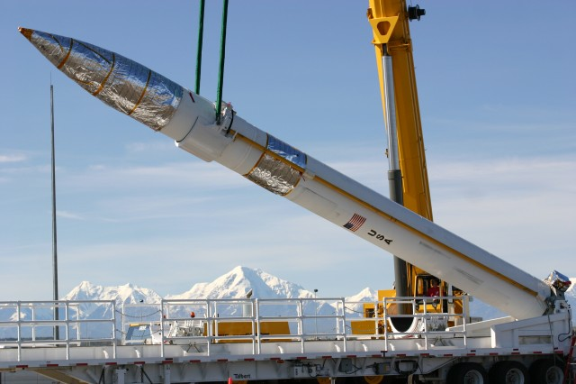 A Ground-Based Interceptor is emplaced at Fort Greely, Alaska and Vandenberg Air Force Base, California. Warfighters of the 49th Missile Defense Battalion at Fort Greely, Alaska, operate the system.