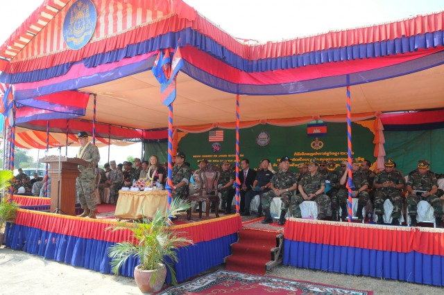 Maj. Gen. Edward F. Dorman III, commander of the 8th Theater Sustainment Command, delivers remarks as U.S. and Cambodian forces officially open Angkor Sentinel 2016, an annual bilateral military exercise hosted by the Royal Cambodian Armed Forces and sponsored by the U.S. Army Pacific, during a ceremony March 14, 2016, at the Training School for Multinational Peacekeeping Forces in Kampong Speu Province, Cambodia.