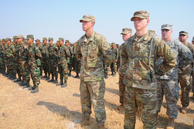 U.S. and Cambodian forces officially open Angkor Sentinel 2016, an annual bilateral military exercise hosted by the Royal Cambodian Armed Forces and sponsored by the U.S. Army Pacific, during a ceremony March 14, 2016, at the Training School for Multinational Peacekeeping Forces in Kampong Speu Province, Cambodia. This year marks the seventh iteration of the exercise that's designed to collectively strengthen the two countries' humanitarian assistance and disaster relief capabilities and improve military-to-military cooperation. (U.S. Army photo by Master Sgt. Mary E. Ferguson, 8th Theater Sustainment Command Public Affairs/RELEASED)