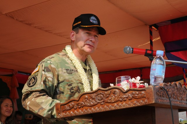 Maj. Gen. Edward F. Dorman III, commander of the 8th Theater Sustainment Command, delivers remarks as U.S. and Cambodian forces officially open Angkor Sentinel 2016, an annual bilateral military exercise hosted by the Royal Cambodian Armed Forces and sponsored by the U.S. Army Pacific, during a ceremony, March 14, 2016, at the Training School for Multinational Peacekeeping Forces in Kampong Speu Province, Cambodia.