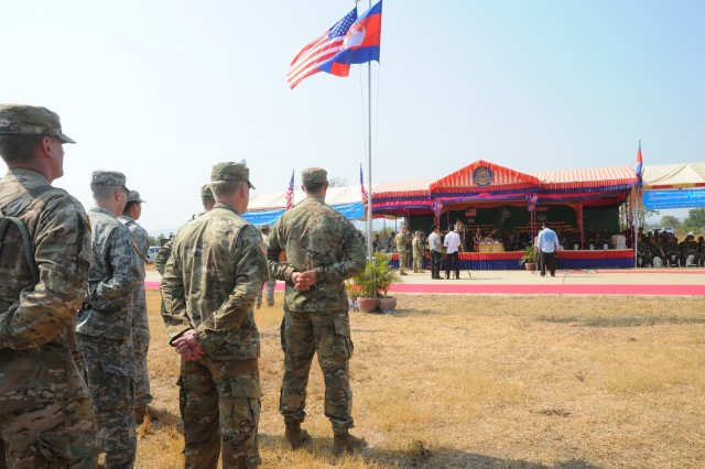 U.S. and Cambodian forces officially open Angkor Sentinel 2016, an annual bilateral military exercise hosted by the Royal Cambodian Armed Forces and sponsored by the U.S. Army Pacific, during a ceremony, March 14, 2016, at the Training School for Multinational Peacekeeping Forces in Kampong Speu Province, Cambodia. This year marks the seventh iteration of the exercise that's designed to collectively strengthen the two countries' humanitarian assistance and disaster relief capabilities and improve military-to-military cooperation. (U.S. Army photo by Master Sgt. Mary E. Ferguson, 8th Theater Sustainment Command Public Affairs/RELEASED)