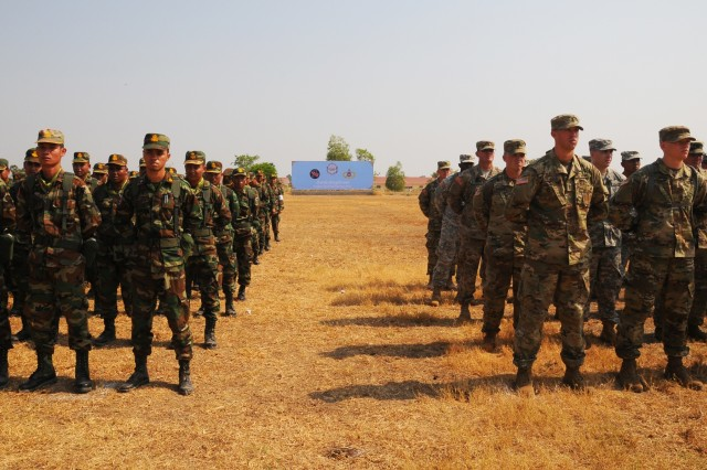 U.S. and Cambodian forces officially open Angkor Sentinel 2016, an annual bilateral military exercise hosted by the Royal Cambodian Armed Forces and sponsored by the U.S. Army Pacific, during a ceremony, March 14, 2016, at the Training School for Multinational Peacekeeping Forces in Kampong Speu Province, Cambodia. This year marks the seventh iteration of the exercise that's designed to collectively strengthen the two countries' humanitarian assistance and disaster relief capabilities and improve military-to-military cooperation.