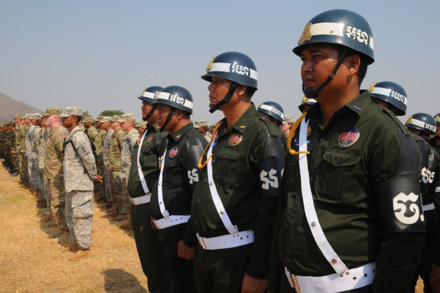 U.S. and Cambodian forces officially opened Angkor Sentinel 2016, an annual bilateral military exercise hosted by the Royal Cambodian Armed Forces and sponsored by the U.S. Army Pacific, during a ceremony March 14, 2016, at the Training School for Multinational Peacekeeping Forces in Kampong Speu Province, Cambodia.