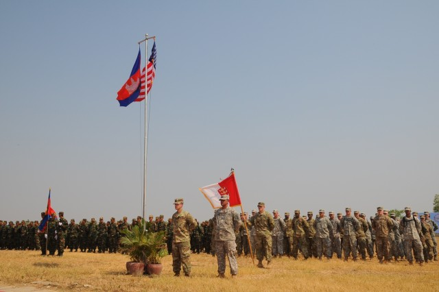 U.S. and Cambodian forces officially opened Angkor Sentinel 2016, an annual bilateral military exercise hosted by the Royal Cambodian Armed Forces and sponsored by the U.S. Army Pacific, during a ceremony, March 14, 2016, at the Training School for Multinational Peacekeeping Forces in Kampong Speu Province, Cambodia.