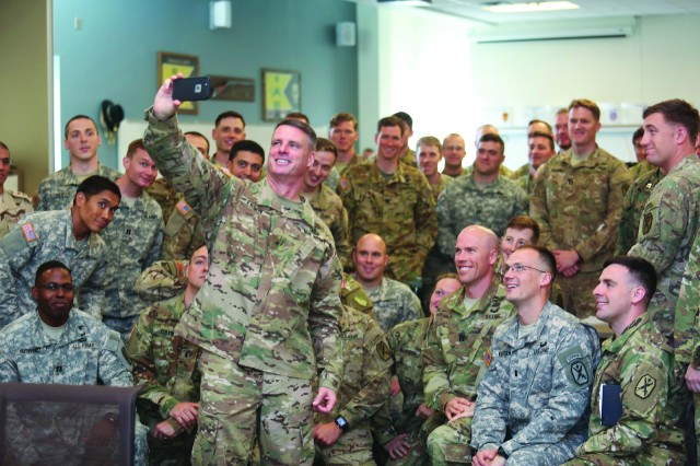 Brig. Gen. Malcolm Frost takes a selfie with MCCC students to post on his Twitter page after his talk on March 10.