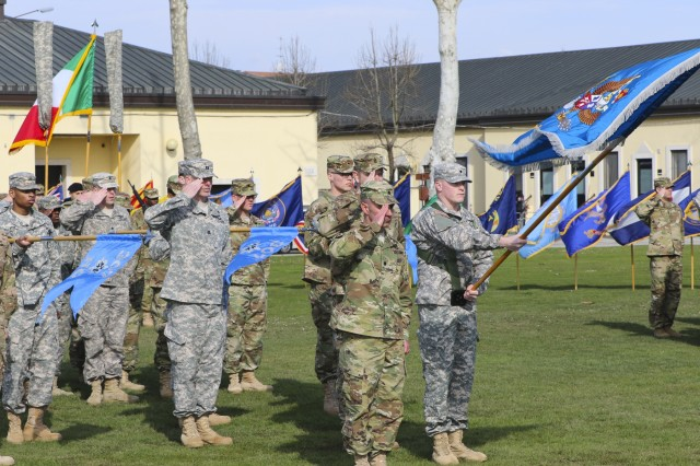 Military Intelligence Soldiers from the 307th Military Intelligence Battalion participate in the activation ceremony of 207th Military Intelligence Brigade March 16, 2016, here at Hoekstra Field at Caserma Ederle. The 207th MI Bde. will serve as the Theater Intelligence Brigade for U.S. Africa Command and is under operational control of U.S. Army Africa. The brigade includes the 207th MI Bde. Headquarters and 307th MI Battalion located here, as well as the 522nd MI Battalion located at Wiesbaden, Germany and the 337th MI Battalion located at Fort Sheridan, Ill. (U.S. Army Africa photo by Staff Sgt. Lance Pounds)