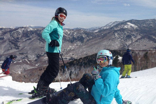 Briana Carlson and Rina Patterson pose for a picture before tackling their next ski run at Shiga Kogen, Nagano Ski Resort, during a weekend, March 5 and 6, of ski and snowboarding fun. (U.S. Army photo by Melanie Kincaid)