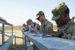 Soldiers attending the first U.S. Army Central Basic Leader Course plot points on their maps before searching them out at the land navigation range at Camp Buehring, Kuwait, March 1, 2016. Land navigation is one of the skills Soldiers must demonstrate proficiency in to graduate the course. (U.S. Army photo by Sgt. Youtoy Martin, U.S. Army Central Public Affairs)